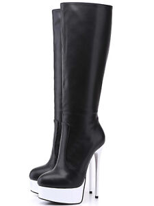 151994f48bab2 Giaro GALANA black leather look boots with white shiny platform and ...
