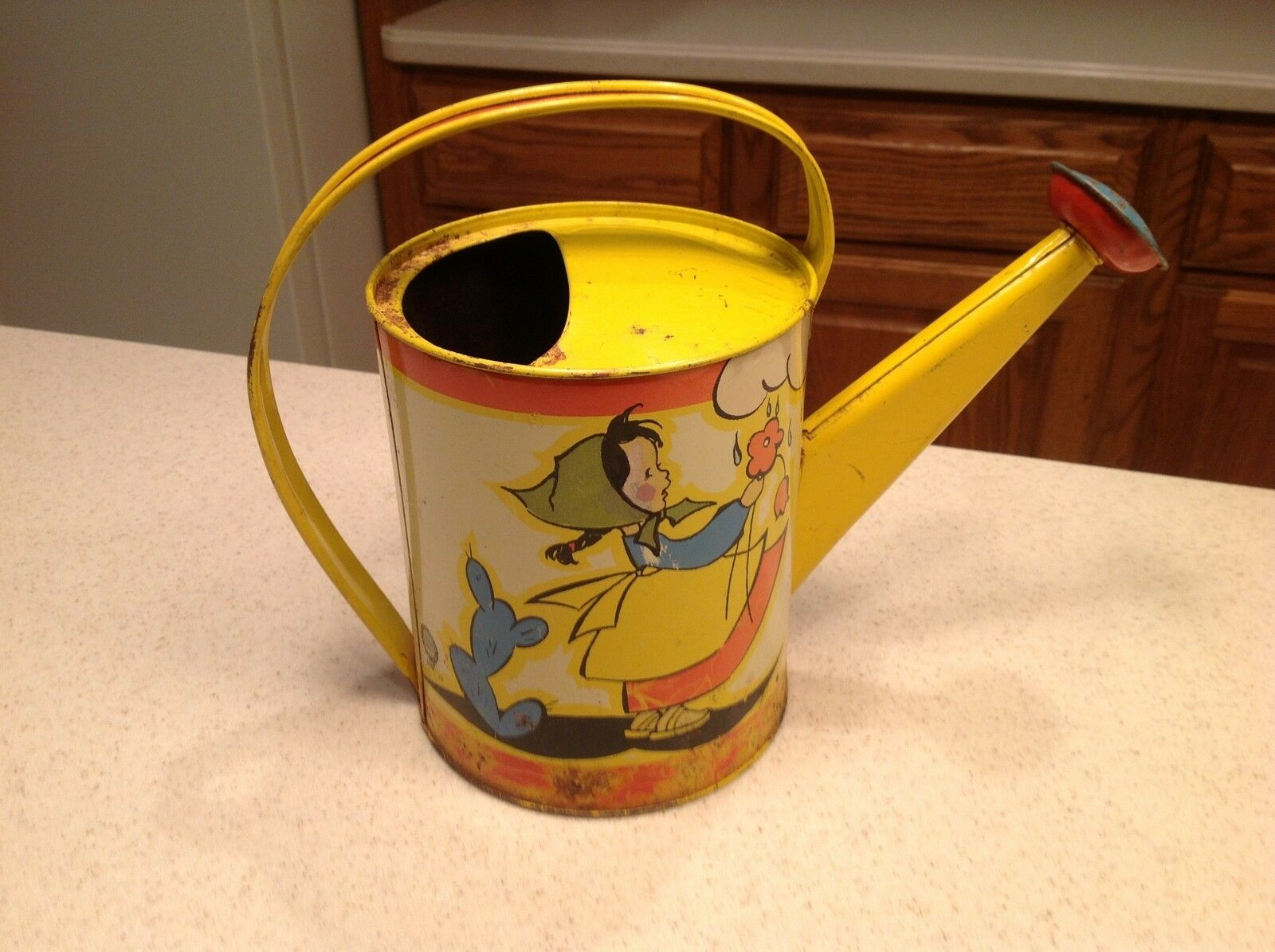 Vintage Ohio Art Tin Litho Watering Sprinkling Can Signed FERN BISEL PEAT Girl