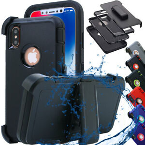 Heavy-Duty-Shockproof-Silicone-Tough-Hard-Case-Cover-iPhone-X-Belt-Clip-Holster
