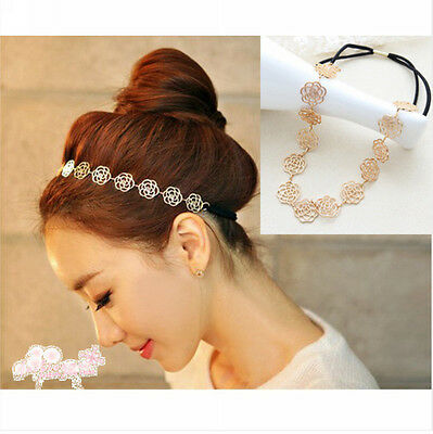 Vintage Lovely Metallic Lady Hollow Rose Flower Elastic Hair Band Headband