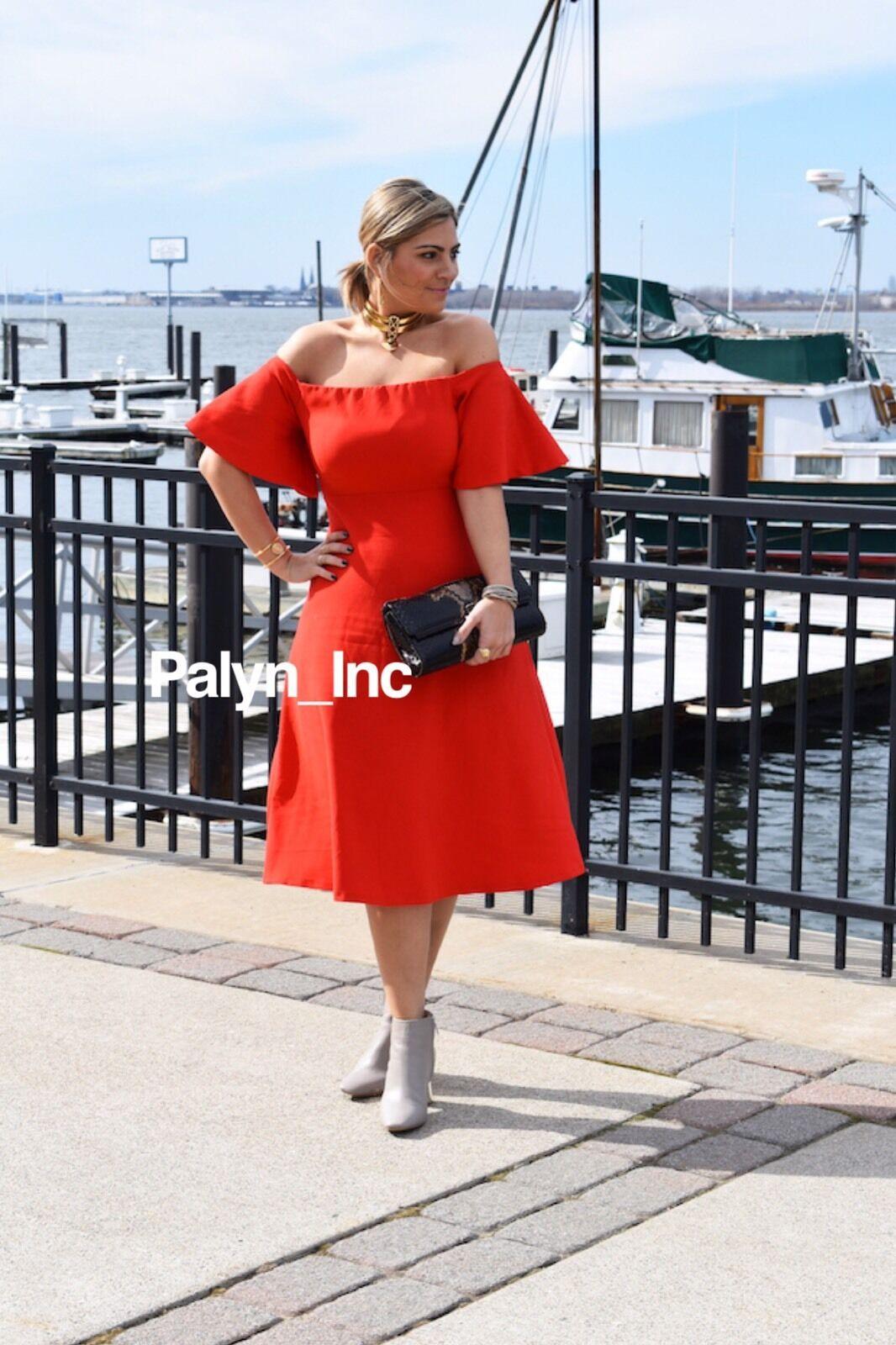 Raro _ _ _ Nwt Zara SS17 Rojo Hombros Al Descubierto Vestido Midi Vestido _ Xs S M L d7e557