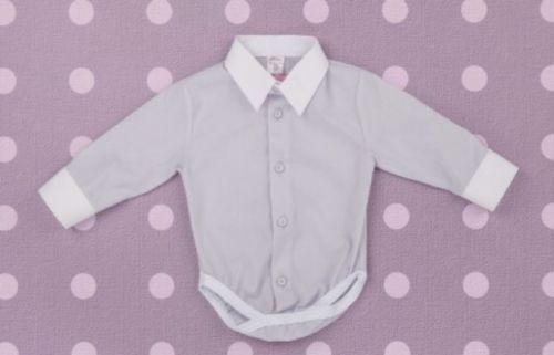 Baby Boy GREY WHITE Dotted Smart Shirt Formal Bodysuit Body Long Sleeve 0-24m