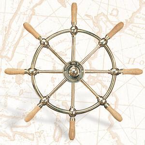 30-034-Solid-Brass-Ship-Wheel-w-Wood-Handles