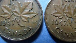 gt-gt-RARE-COINS-gt-gt-1947-CANADA-With-MAPLE-LEAF-KING-GEORGE-VI-ONE-CENT-COINS-lt-lt-RARE