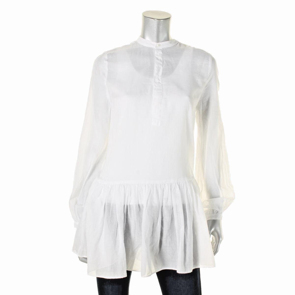 Polo Ralph Lauren Woherren New  Weiß Sheer Drop Waist Tunic Top Größe M