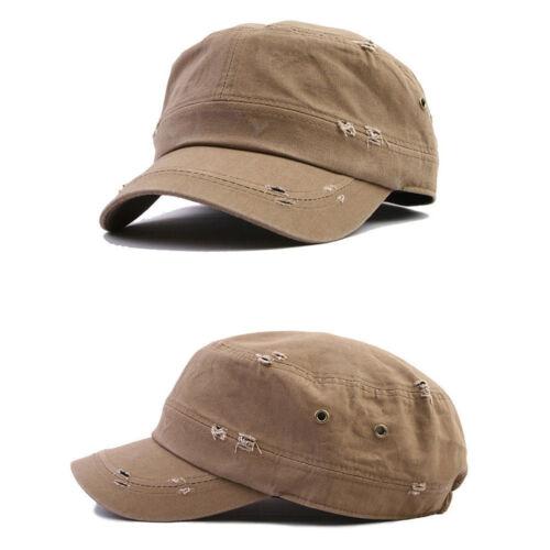 Mqum Ösen Zerrissen Herren Damen Mützen Kappe Kadett Militär Hüte Trucker Hut