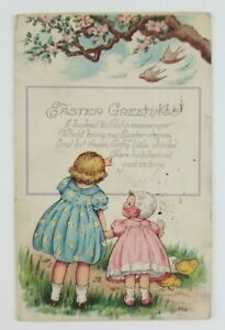 Postcard-Easter-Greetings-Two-Girls-Baby-Chicks-1924