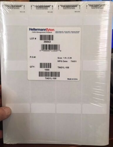 "HellermannTyton TAG1L-105 Laser Tag Label 1000//pkg 1.9/"" X 3.75/"""
