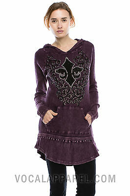 Vocal Crystals Fleur De Lis Mineral Wash Purple Hoodie Shirt Sexy Small