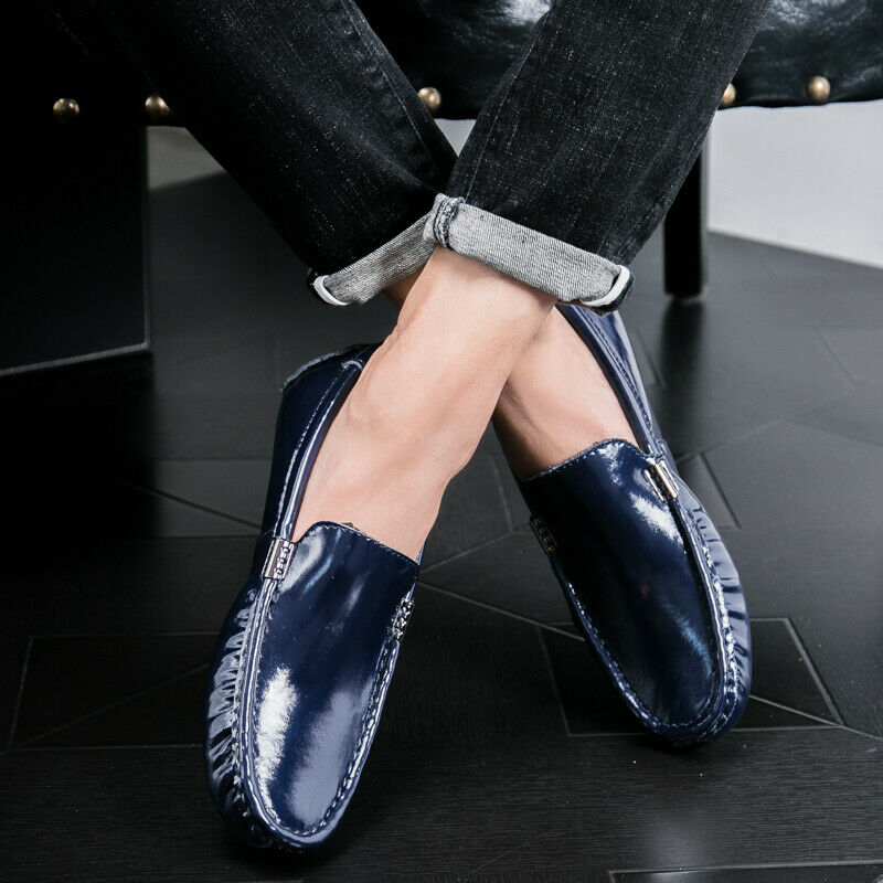 Mens Slip On Loafers Patent Leather Driving Moccasins Gommino Casual Boat shoes