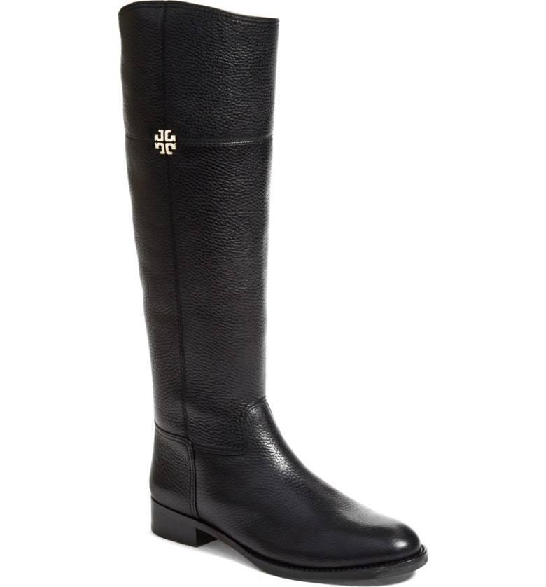 NIB TORY BURCH Women's Jolie Riding Boots Black Tumbled Leather Size 8.5 M $495