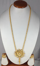 "Gold Plated Designer 18"" Long Bridal Locket Necklace Earring set Adjustable Tie"
