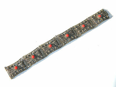 Antique SILVER FILIGREE LINK BRACELET w/ Coral Beads, India/Tibet ca.1900s
