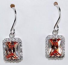 2CT Padparadscha Sapphire 925 Solid Sterling Silver Earrings Jewelry, T2-2