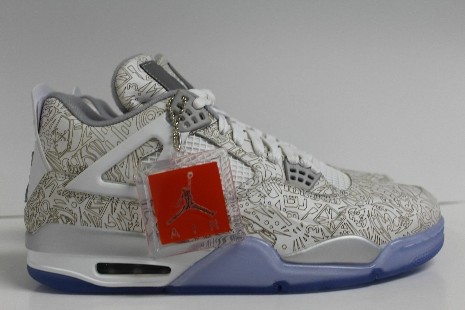 Nike Air Jordan 4 Retro Laser 705333-105 White/Chrome-Metallic Silver - Size 10