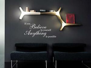 BELIEVE IN YOURSELF Home Wall Decal Words Lettering Quote Stencil Sticker 48/""