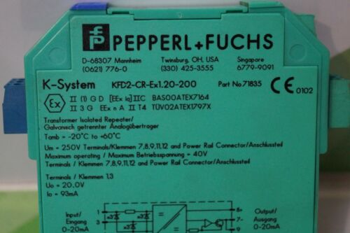Fuchs Répéteur 71835 Pepperl type: kfd2-cr-ex1.20-200
