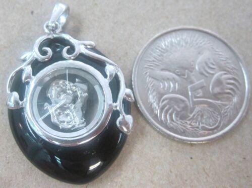 "UNISEX 925 Sterling Silver /""MONKEY Spin /& Black Onyx/"" Chinese Horoscope Pendant"