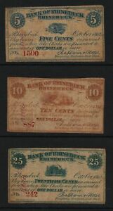 1862-Bank-of-Rhinebeck-NY-obsolete-fractional-notes-5c-10c-25c-circulated