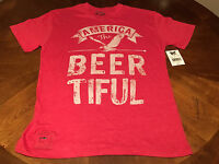 """""""America the Beer-tiful"""" beer mens  t-shirt medium NEW with tag cotton polyester"""