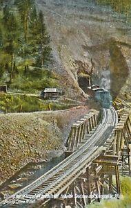 c1910-Railroad-Train-Tunnel-Trestle-Lewiston-Grangeville-Idaho-Postcard