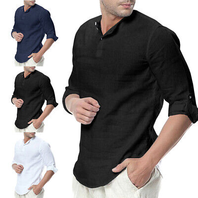 Men Baggy Cotton Linen Solid Color 3//4 Sleeve V Neck T Shirts Casual Top Blouse