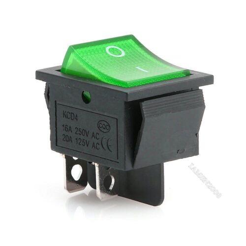 10 Stücke Grüne Lampe 4 Pin Ein Aus 2 Position Dpst Wippschalter 16A 250 il