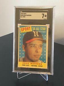 1958 Topps #480 Eddie Mathews All-Star Atlanta Braves SGC 7 Near Mint