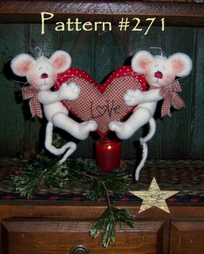 Primitive Valentine Mouse Love Hugs Ornies Paper Pattern #271