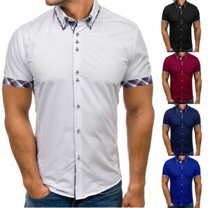 Fashion-Mens-Short-Sleeve-Casual-Shirts-Lattice-Summer-Slim-Fit-Dress-Shirts-Top
