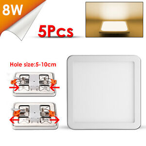 5X-8W-Ultraslim-LED-Panel-Einbaustrahler-Aufputz-Deckenleuchte-Quadrat-Warmweiss