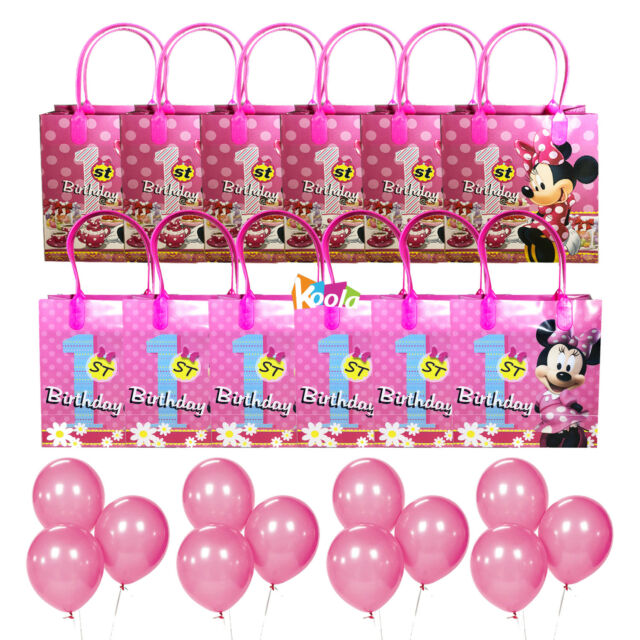 12pc Minnie Mouse 1st Birthday Party Loot Bags Goody Fun Gift Bag W Balloons