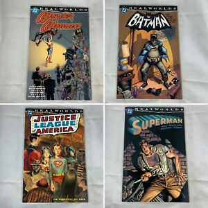 Lot-Of-4-Realworlds-Wonder-Woman-Batman-JLA-Superman-TPB-DC-Comics-2000