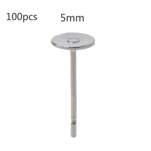 100Pcs Stainless Steel Flat Glue on Earring Posts For Jewelry Making Findings