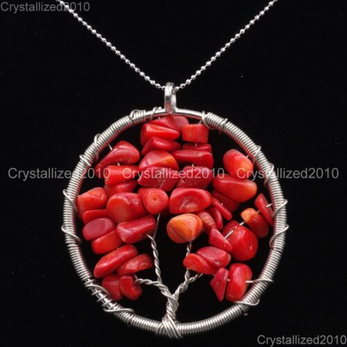 Natural Gemstone Reiki Chakra Chip Perles Arbre de vie Healing Pendentif Charme