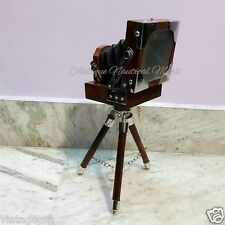 Antique Style Vintage Folding Camera With Wooden Tripod Stand Home Decorative