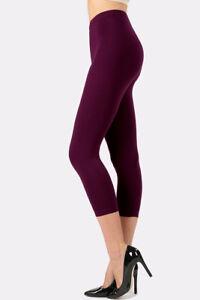 Plain-Leggings-Capri-Cotton-High-Waist-Workout-Gym-Sports-Yoga-Fitness-Stretch