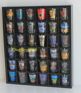 Shot-Glass-Display-Case-Rack-Wall-Shelves-Shadow-box-No-Door-MH37