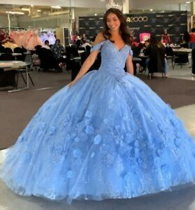Blue Quinceanera Dresses 3D Floral Beaded Off Shoulder Sweet 15 Prom Ball Gown