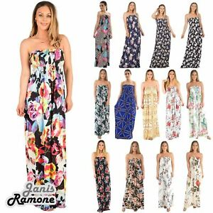 great look stylish design outlet boutique Details about New Womens Tropical Leaf Floral Print Sheering Boobtube  Bandeau Long Maxi Dress