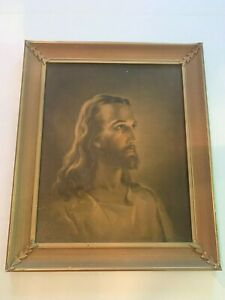 Vintage-1941-Sallman-039-s-Head-Of-Christ-Lithographed-in-Six-Colors-In-Wood-Frame