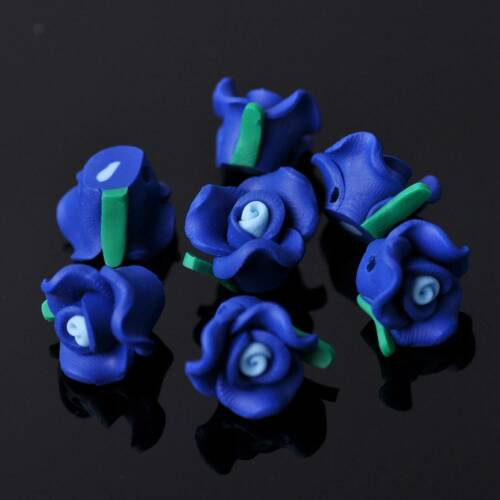 20pcs 12mm Rose Flower Polymer Clay Loose Spacer Fimo Beads Craft Wholesale DIY