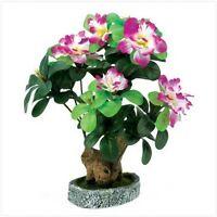 Faux Azalea Plant Everlasting Fabric Blooms In Rock Powder Vase Pink Green