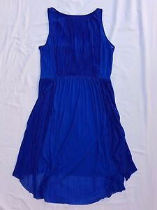 AS-NEW-H-amp-M-Size-10-Dress-Blue-Sheer-Sleeveless-Midi-Gathered-Grecian-Event-Party