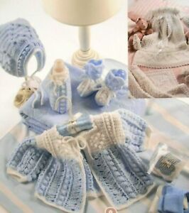 Heart/'s Delight Baby Layettes /& Afghan ~ 2 Sets crochet pattern booklet NEW