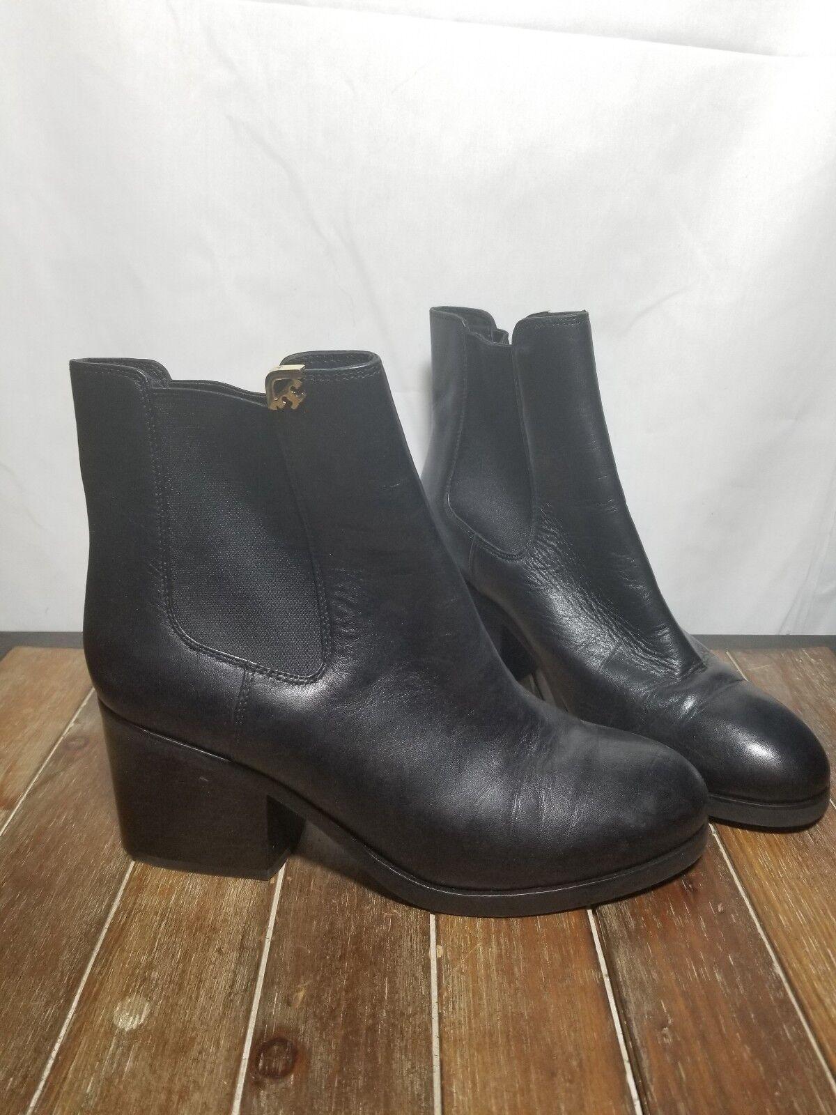 TORY BURCH Black Leather Block Heel Booties w/ Elastic Sides Sz 8.5
