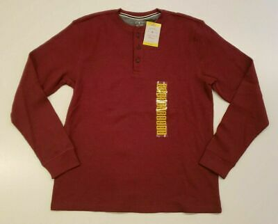 Members Mark Mens Dark Red Thermal Henley Shirt L//S Waffle Crew Neck M or 2X NWT
