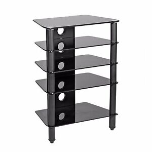mmt hi fi stand rack 5 shelf black glass black matt legs. Black Bedroom Furniture Sets. Home Design Ideas