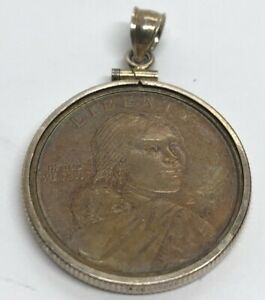 Vintage-Sterling-Silver-Necklace-925-Pendant-2000-Dollar-Coin-Sacagawea