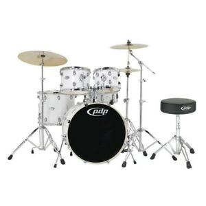 PDP-By-DW-Set-Batteria-Mainstage-Gloss-White-Chrome-HW-20-034-10-034-12-034-14-034-14-034